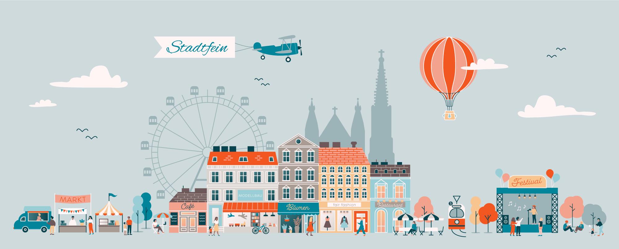 Stadtfein als Skyline von Wien handgezeichnet von Katharian Kastner